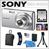 Sony Cybershot DSC-W620 14.1MP Digital Camera Silver 4GB Accessory Kit
