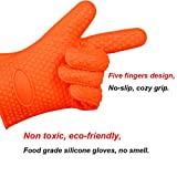 Iserlohn Heat Resistant Silicone Grilling Gloves Orange with Set of 4 Round Pot Holders