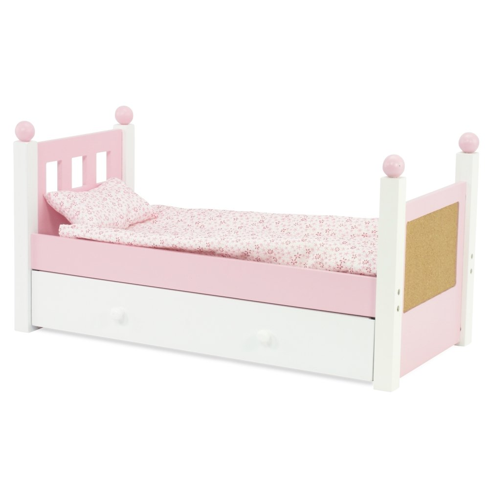 Emily Rose Doll Clothes 18 Inch Doll Furniture White Trundle Bed With Bedding Ebay