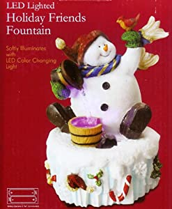 Nature's Mark LED Lighted Holiday Friends Snowman Color Changing Fountain
