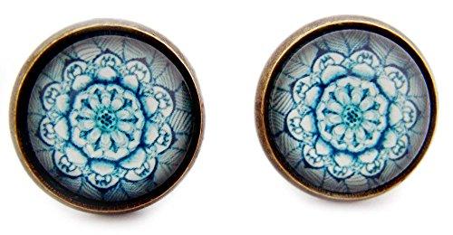 Miss Lovie orecchini foglia orecchini Leaf Cabochon 12 mm orecchini foglia decorazione blu