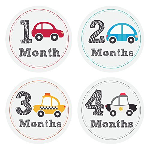 Pinkie Penguin Cars Baby Monthly Stickers - Milestone Onesie Stickers - Baby Boy - 1-12 Months - Baby Shower Gift