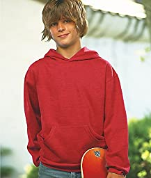 LAT L2296 Youth Fleece Hooded Pullover Sweatshirt with Pouch Pocket - Vintage Red, Medium