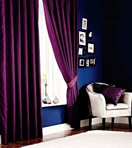 Superb Quality 46x54 Purple Faux Silk Ring Top Fully Lined Curtains *tur* by Curtains