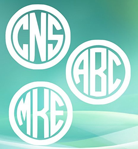 Set of 3 Circle Monogram Decals.Customize the color, initials, and size. Perfect for windows, wine glasses, flasks, Yeti cups, bridesmaids gift, water bottle, etc.