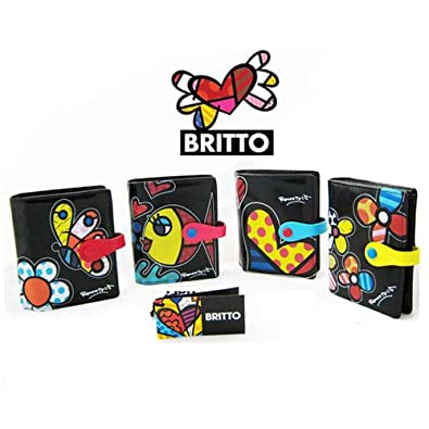 Romero Britto Small Black Wallet Leather Coin New Purse Black Flower Heart Fish