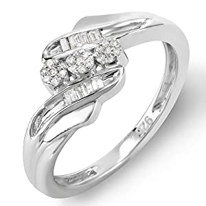 Sterling Silver Ladies Round Baguette Diamond Promise Ring 3 Stone concept Cocktail Ring 1/6 CT (0.15 cttw, I-J color, I2-I3 quality)