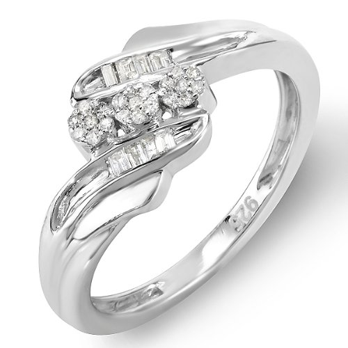 0.15 Carat (ctw) Sterling Silver Ladies Round Baguette Diamond Promise Ring 3 Stone concept Cocktail Ring