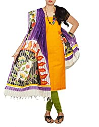 Unnati Silks Women Unstitched yellow-green pure Andhra khadi cotton salwar suit dress material
