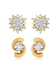 Combo Of Two Pair Of Earring Studs Made With CZ For Women CO1104106G