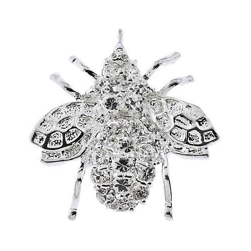 Rhodium Plated (.925) Sterling Silver Cubic Zirconia Bee Pin Brooch Pendant (Nice Holiday Gift, Special Black Firday Sale)