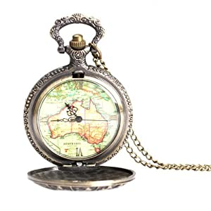 Click to open expanded view Monkeybrother Elegant Retro Pocket Watch Large 12 Constellation Map Design Necklace Chain