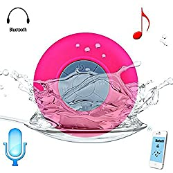 KARP Water Resistant Bluetooth 3.0 Shower Speaker, Handsfree Portable Speakerphone With Built-In Mic, 6 Hours Of Playtime, Control Buttons And Dedicated Suction Cup (Pink)