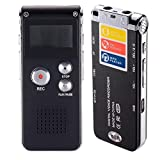 Bagent Digital Audio Voice Recorder 8GB Multifunctional Rechargeable MP3 Music Player Dictaphone Recording Player with Built-in Speaker and Microphone--Black
