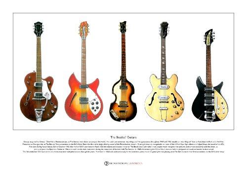 Guitares des Beatles édition limitée Fine Art Print A3 taille