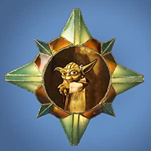 "12"" Star Wars Clone Wars Yoda Star Brown and Green Christmas Lighted Tree Topper"