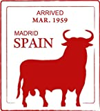 Madrid Spain Europe Red Bull Travel Stamp Bumper Sticker Decal 10 x 12 cm