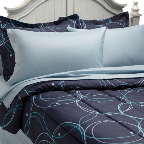 Cathay Home Fashions 8-Piece Bed in a Bag Microfiber Set, Full Size, Circles