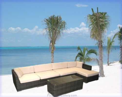 New 5 Piece Rattan / Wicker Outdoor Sofa Set + Coffee Table