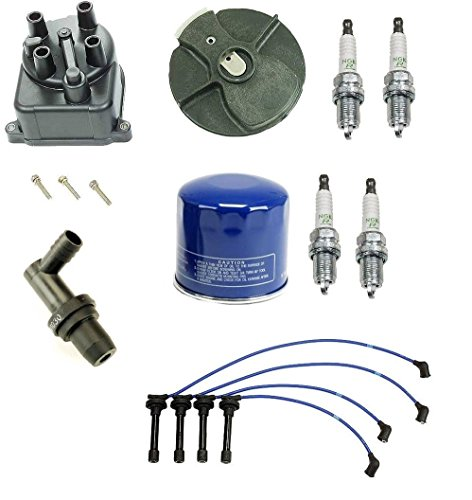 Tune Up Kit Filter Cap Rotor Wires & NGK Spark Plugs Honda Civic DX LX 1.5 1992-1995 D15B7 (D15b7 Spark Plug Wires compare prices)
