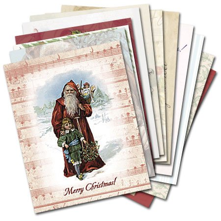 Christmas Past - Box Set of 12 Assorted Christmas Greeting Cards and Patterned Envelopes:
