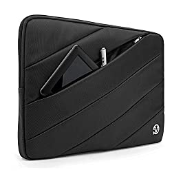 VanGoddyTM VanGoddy Jam Series Bubble Padded Striped Sleeve for Dell Precision Mobile Workstation 15.6 inch Laptops (Black) + USB Mouse + Black VG Headphones + 16GB Memory Card