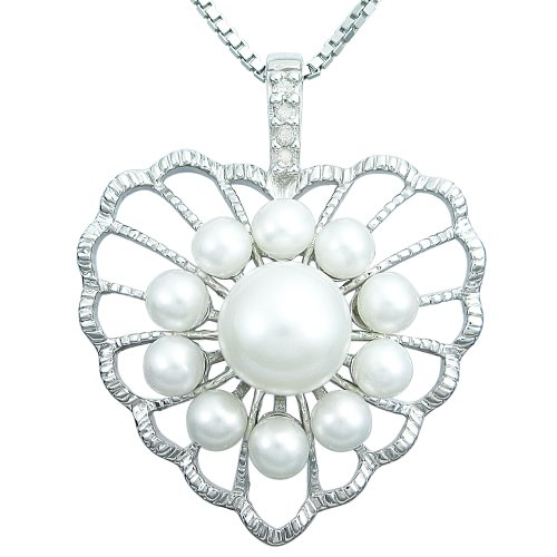 Sterling Silver Pearl and Diamond Accent Heart Pendant Necklace, 18