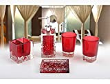 Home-Sets Star Radiance Bath Ensemble 5 Piece Bathroom Accessories Set Luxury Bath Accessories Set Soap Dispenser/Toothbrush Holder/Tumbler/Soap Dish-red