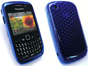 EMARTBUY BLACKBERRY 8520 CURVE / 9300 CURVE 3G HEXAGON PATTERN GEL SKIN COVER/CASE DARK BLUE + SCREEN PROTECTOR