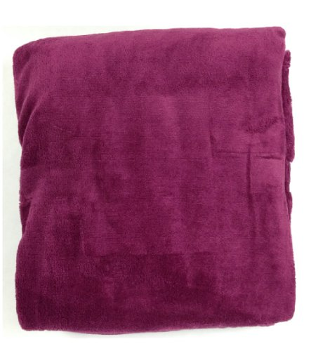 Queen Blanket Sumptuously Soft Plush Coral Fleece Mega Throw/Reversible Bedspread (Burgundy)