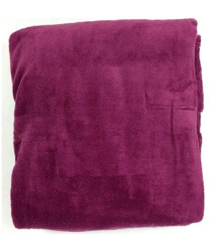 Queen Blanket Sumptuously Soft Plush Coral Fleece Mega Throw/Reversible Bedspread (Burgundy)