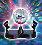 Mirror Disco Ball LED Strobe Light - 5 Inch -Energy Saving- For Parties, EDM, Dance, Clubs, DJ Set, Birthdays, Celebrations, Etc. - Kidsco