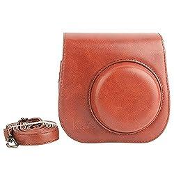 [Fujifilm Instax Mini 8 Case] - Katia PU Leather Instax Mini 8 Camera Case Bag With Camera Strap and Pocket (Brown2)