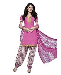 Rudra Textile Women's Pink Cotton Punjabi Suit
