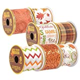 Decorative Autumn Harvest Fall Wire-Edged Ribbon, 3-yd. Spools, 7-ct Set (Tamaño: 1 pack)