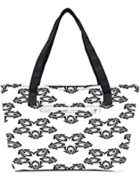 Pack Of 2 Grey Designed Pattern Combo Tote Shopping Grocery Bag With Coin Pencil Purse