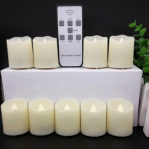 【Timer,18 Pcs Batteries Included】9 Pcs LED Votive Tea Lights Candles Battery Operated Flickering Flameless Candles 2'' Dimmable Light with Remote for Wedding Decorations Birthday Parties Gift (Remote Control Votive Candles compare prices)