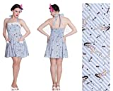Hell Bunny Nautical Blue Stripe Rockabilly Tattoo 50's Vintage Pin Up Dress Size 12 - 14