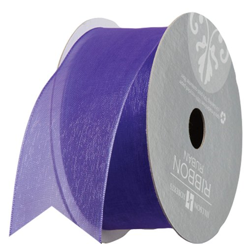 Jillson Roberts 1-1/2 Inch Sheer Ribbon, Purple, 6-Count (FR3203)