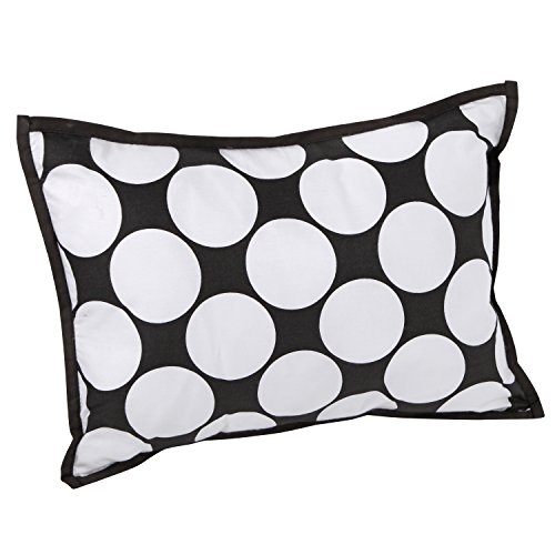 Bacati - Dots/pin Stripes Black/white Dec Pillow