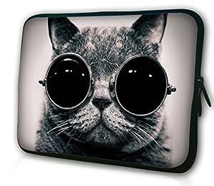 Waterfly Fat Cute Cat with Glasses Pattern Neoprene 14