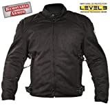 Xelement Mens Black Mesh Motorcycle Jacket Padded with Level-3 Advanced Armor - Small