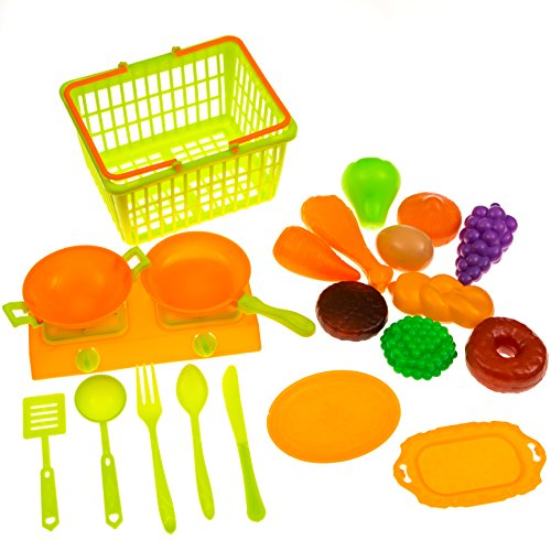 Play Food Shopping/Grocery Basket: With Healthy Fruits & Vegetables, Plates/Dishes, Pots & Pans & Stove. Breakfast/Lunch/Dinner Play Toy Set for Kids/Toddlers