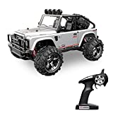 Vatos RC Car Off Road High Speed 4WD 45km/h 1:22 Scale 50M Remote Control 15 Mins Playing Time 2.4GHz Electric Vehicle Buggy Truck with LED Night Vision (Silver)