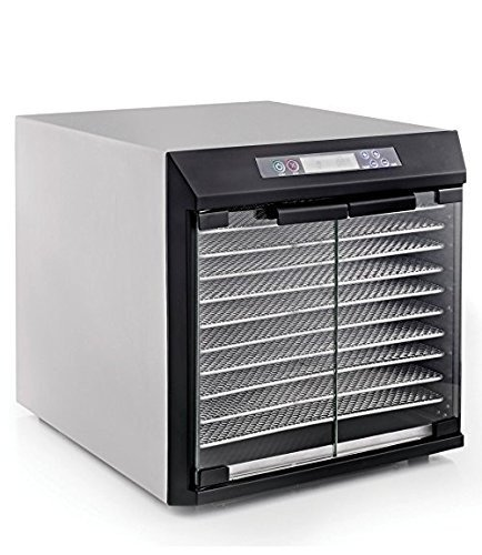 Excalibur Dehydrator EXC10EL 10-Tray Glass Doors, Stainless Steel with Stainless Steel Trays (Excalibur Stainless Steel compare prices)