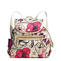 Hot Sale Coach Signature Daisy Kyra Flower Print Backpack Bag 19284 Multicolor