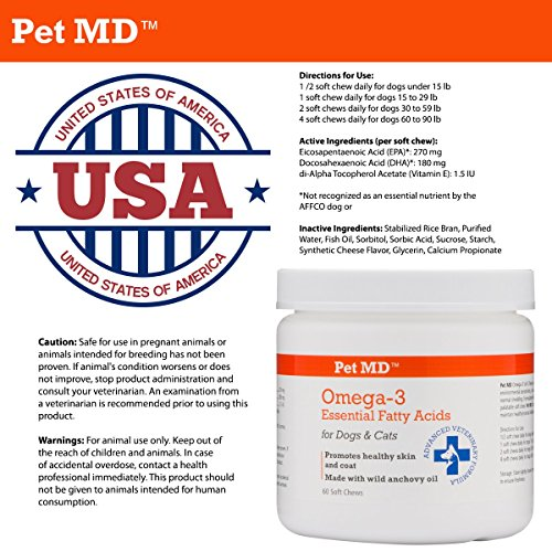 Pet md fish oil for dogs omega 3 soft chews for Fish oil for dogs skin