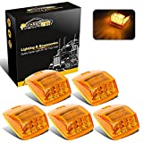 Partsam 5x Bright Amber 17 LED Cab marker Top Clearance Light Universal for Truck Trailer Kenworth Peterbilt Freightliner Mack Volvo