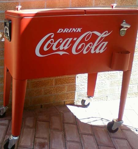 "DRINK COCA-COLA Giant 18"" White OLD TIME Vinyl Sticker/Decal (Shown on old referbished cooler)"