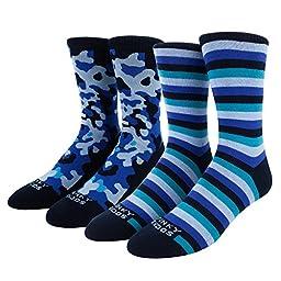 Funky Socks Men\'s 2 Pack Camo Crew Socks Navy